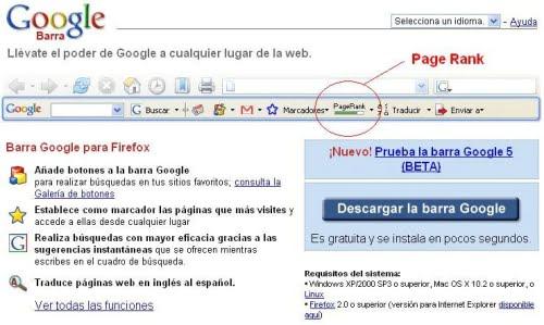 Barra Google indicando el Page Rank