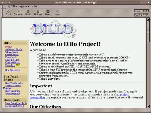 El navegador Dillo y la Web oficial