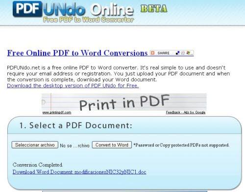 PDF Undo Online proceso de conversión