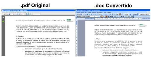 Resultados comparados obtenidos con PDF Undo Online