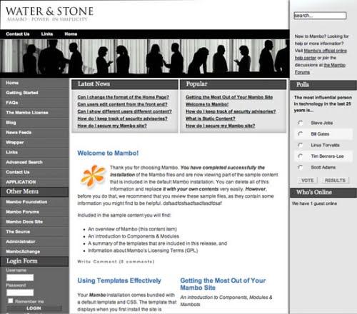 Un ejemplo de sitio Web creado con Mambo