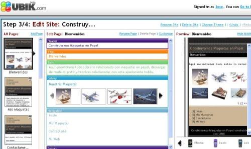 Panel de configuración del sitio de maquetas en Ubik