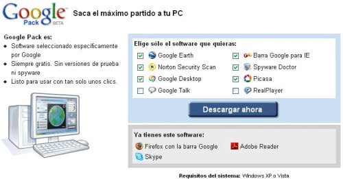 Gestor de descargas de Google Pack