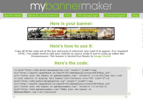 Código HTML y ejemplo de un banner creado