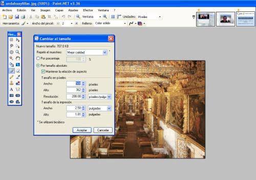 Opciones de ajuste de imagen con Paint net