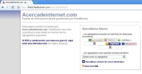 """Suscripción RSS del Blog """"Acerca de Internet"""""""