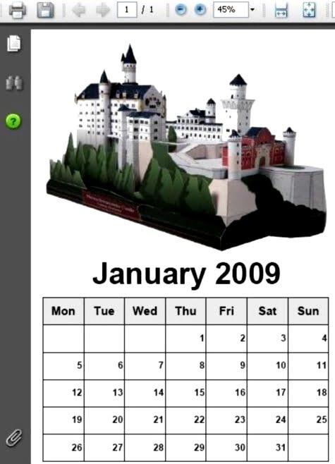 Un ejemplo de calendario creado