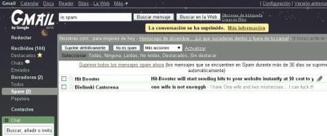 Carpeta de Gmail con correo spam