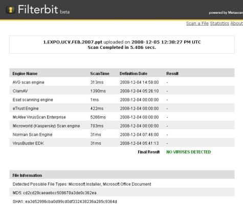Resultados de un escaneo en Filterbit