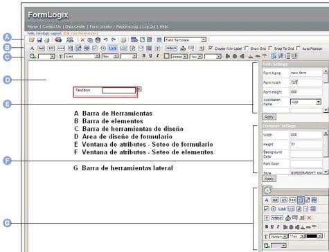 Elementos de la aplicación para construcción de formularios