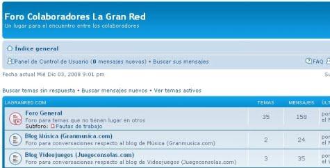 El foro de La Gran Red creado con phpBB