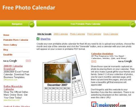 Sitio oficial de Free Photo Calendar