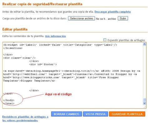 Donde se ubica el código en Blogger
