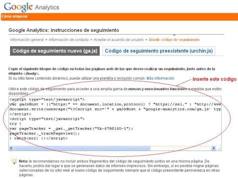 Código ga.js de Google Analytics
