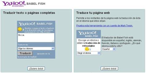 Opciones del traductor Babel Fish