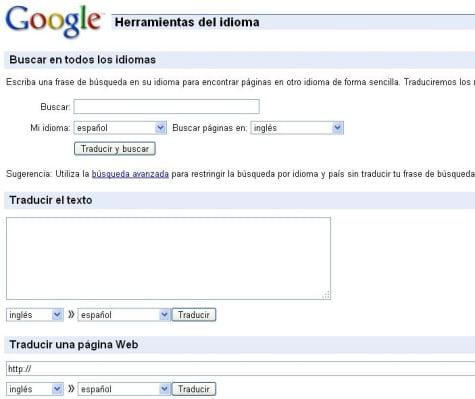 Sitio del traductor de Google
