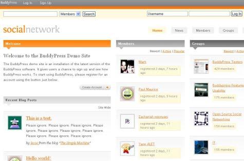 Un ejemplo de red social creada con BuddyPress