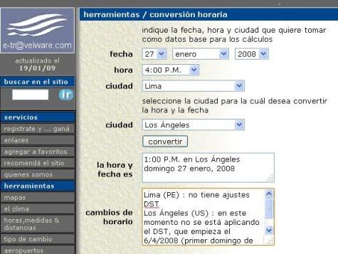 Página de e-tlavelware para diferencias horarias