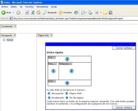 El modo diseño con los frames principales de la página Web