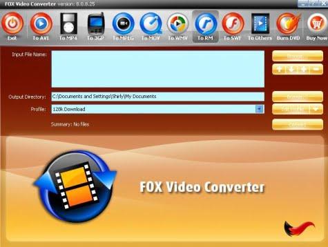 Pantalla de Fox Video Converter mostrando las opciones