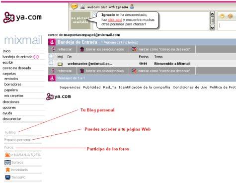 Una cuenta de correo Mixmail con sus funciones