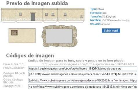 Los códigos de la imagen subida