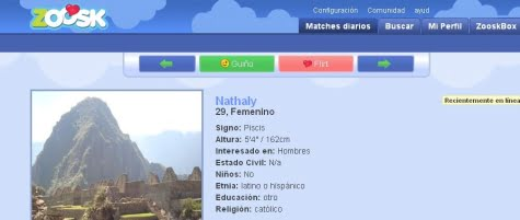 Las funcionalidades de búsqueda en Zoosk