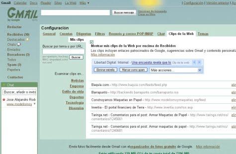 Configurando tus Clips de Web en Gmail