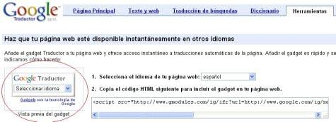Gadget traductor de Google