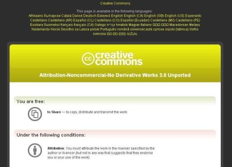 Ejemplo de una licencia Creative Commons