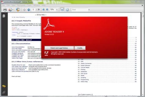 Pantalla de trabajo de Adobe Reader 9