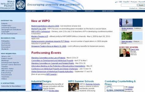 Vista del portal de la OMPI