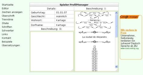 Vista de la página Usvblons y su utilidad Travian manager