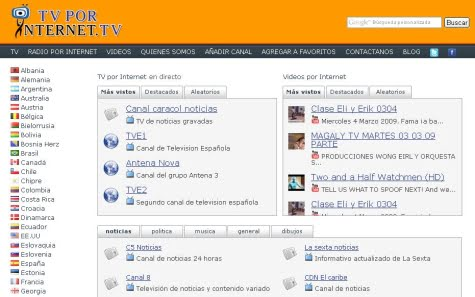 Pantalla incicial de Tv por Internet
