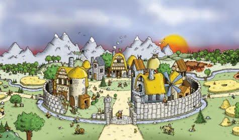 Una aldea en el juego de Travian