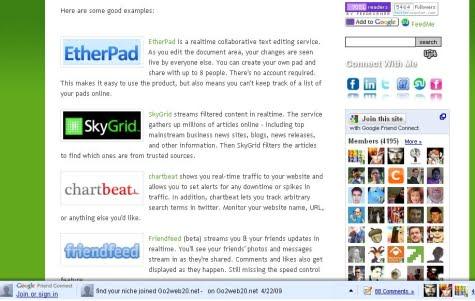 Una página con el servicio de Google Friend Connect