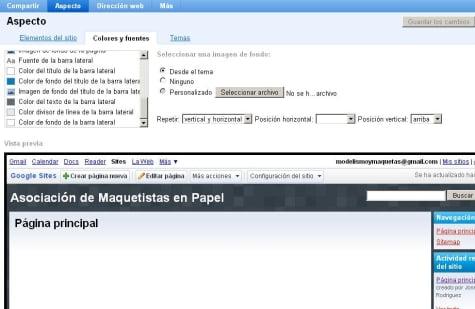 Panel de edición de las páginas en Google Sites