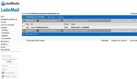Bandeja de entrada del correo LatinMail