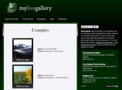 Opciones que muestra el servicio de MyLiveGallery
