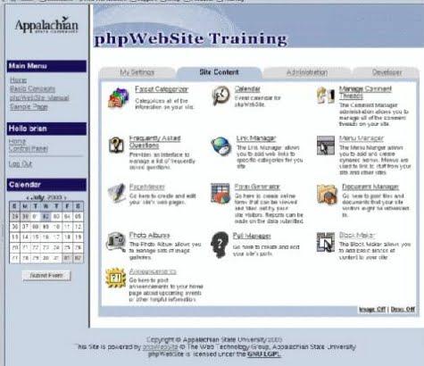 Un ejemplo del panel de phpwebsite