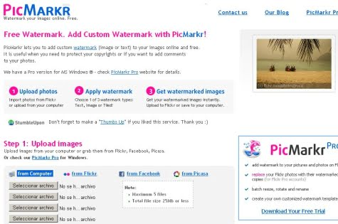 Portada del servicio Picmarkr