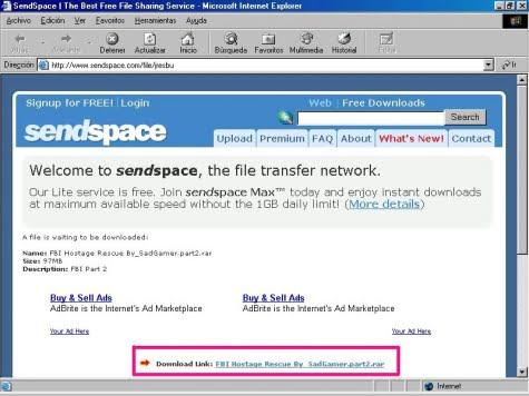 Servicio de descarga Sendspace