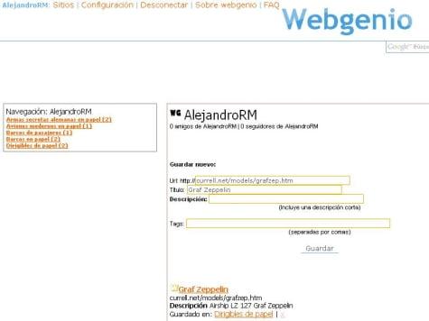 Un ejemplo de página en WebGenio