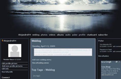 Un sitio personal creado con Xanga