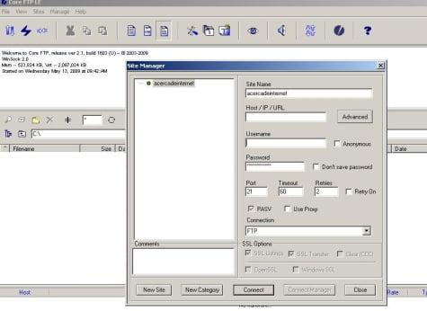 Incio en CoreFTP Lite