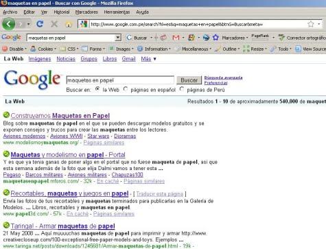 Resultados de búsqueda mostrando el escaneo de Finjan SecureBrowsing en Firefox