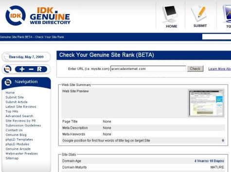 La herramienta Genuine Site Rank