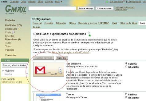 Gmail sin conexión