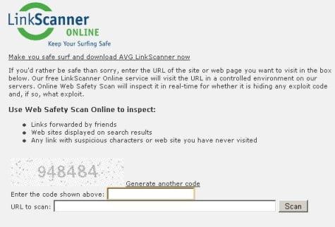 Portada del servicio de Linkscanner Online