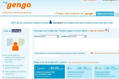 Página oficial de MyGengo